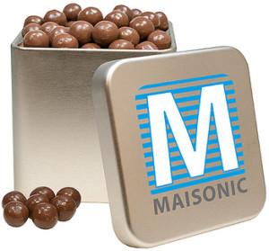 Čokoládové křupavé kuličky v hranaté plechové dóze s potiskem