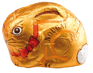 Figurka velikonočního zajíčka z nugátu