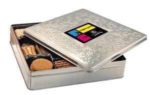 Belgické sušenky v ozdobné plechovce s potiskem