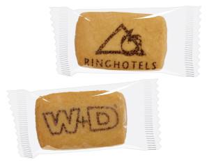 Reklamní hranatá sušenka s kakaovým potiskem ve fólii