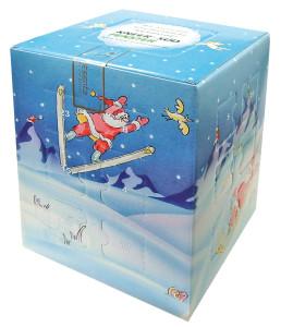 Reklamní adventní kalendář s pralinkami a krabička na dárek