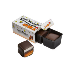 2 perníkové kostky polité čokoládou v krabičce s vlastním potiskem
