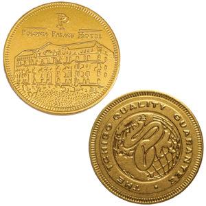 Čokoládové žetony a mince v reklamní fólii