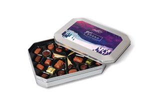 Čokoládové bonbóny v plechové krabičce