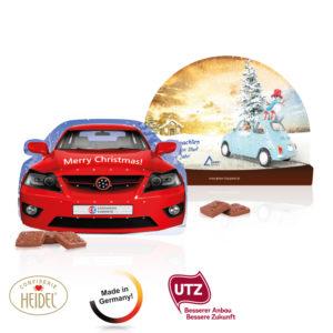 Kalendář v různých tvarech s dárečky a s možností vlastního potisku s 24 čokoládovými čtverečky s obrázky