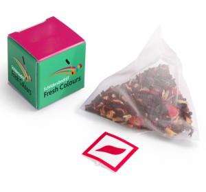 Sáček čaje v reklamní krabičce