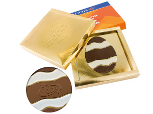 Čokoládová kraslice s logem v reklamní krabičce