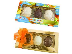Čokoládové kraslice v reklamní krabičce