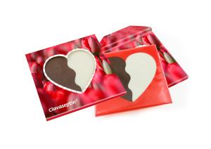 Dvoubarevné srdce v reklamní krabičce
