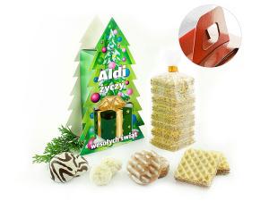 Reklamní krabička ve tvaru stromečku se sušenkami