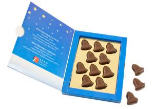 Čokoládové zvonky v reklamní krabičce