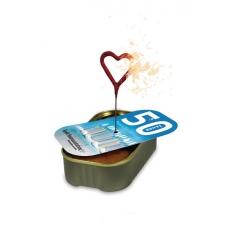 Dortík v plechovce s reklamní etiketou