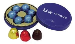 Čokoládové pralinky v reklamní plechovce