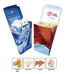 Slané pochoutky v reklamní krabičce