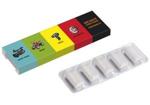 5 žvýkaček v blistru s papírovým přebalem