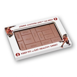 Čokoládová tabulka s počty kilokalorií