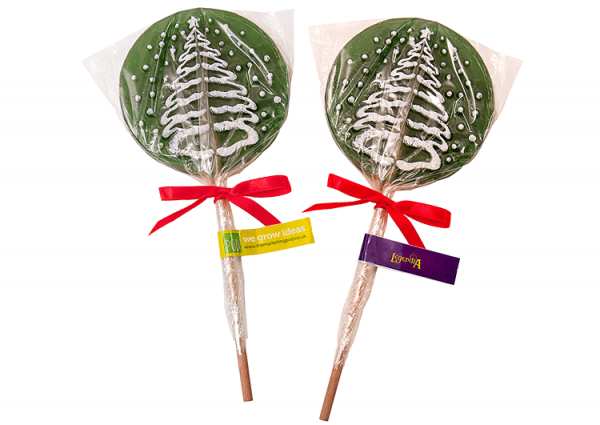 Lízátka v podobě vánočních stromků