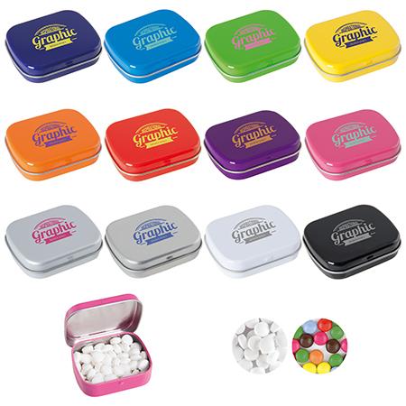Mátové pastilky v barevných kovových krabičkách