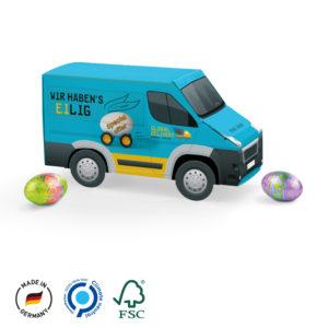 Velikonoční minivan s čokoládovými vajíčky