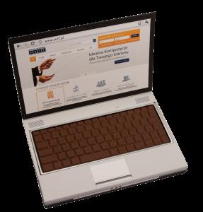 Čokoládová klávesnice v originální krabičce ve tvaru notebooku