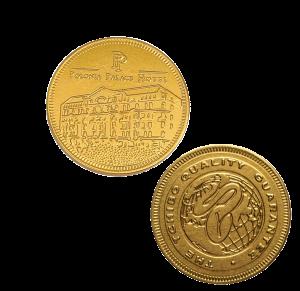 Zlatá čokoládová mince