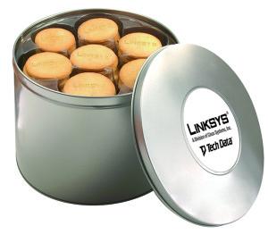 Sušenky s vyraženým logem v reklamní plechové dóze