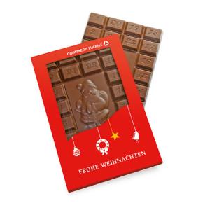 Tabulka čokolády s očíslovanými čtverečky a obrázkem Santa Clause
