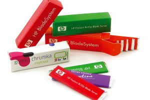 Plátkové žvýkačky v reklamní krabičce