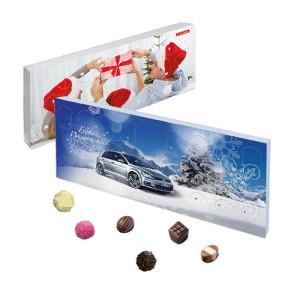 Stolní adventní kalendář s vlastním potiskem s 24 malými čokoládovými lanýži
