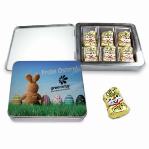 Čokoládoví zajíčci v plechové krabičce