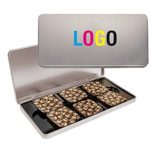 6 krásných plněných čokoládek v reklamní plechové krabičce s digitálním potiskem nebo gravírováním