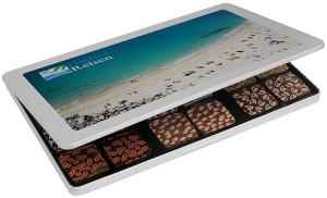 Krásné plněné čokoládky v reklamní plechové krabičce s digitálním potiskem nebo gravírováním