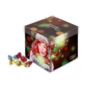 Reklamní dárková krabička s bonbóny v lesklé fólii v šesti barvách