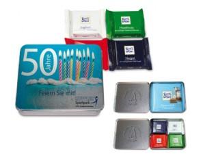 Reklamní plechová krabička s cukrovinkami